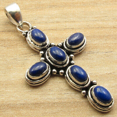LAPIS LAZULI 6 Gemstone !! Old Style Cross Pendant, Silver Plated Jewelry