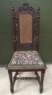 Antique C19th Carved High-Back Hall Chair with Tapestry Seat & Bergere-Work Back
