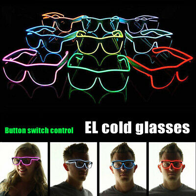 LED EL Wire Light Up Glow Glasses Eyewear Shades for Club Party + Controller