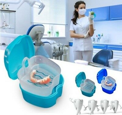 Denture Box Case Denture Bath Cleaning Cup Dental Retainer False Teeth Box #CF7