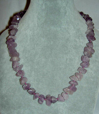 Mid-Century Silver Filigree Purple Amethyst Chunky Nugget Hand Knotted Necklace