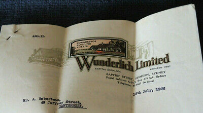 1936 Wunderlich Sydney 2 Page Building Quote Great Letterhead