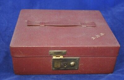 Art Deco Red Morocco Leather 2 Tier Jewellery Box Red Velvet Lined Lock & Key #7