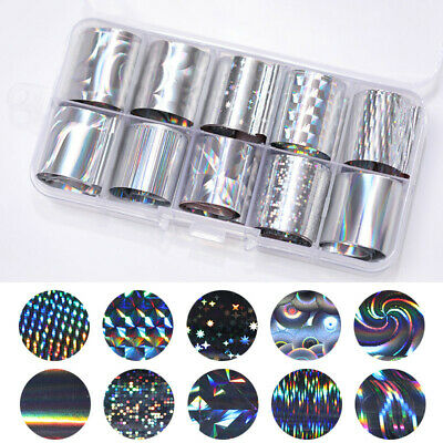 10 Rolls/Box Nail Foils Starry Sky Silver Holographic Transfer Stickers Decals