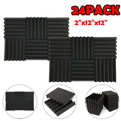 "24 Pack Acoustic Foam Tile Panel Wedge Studio Soundproofing Wall 12""X12""X2"" new"