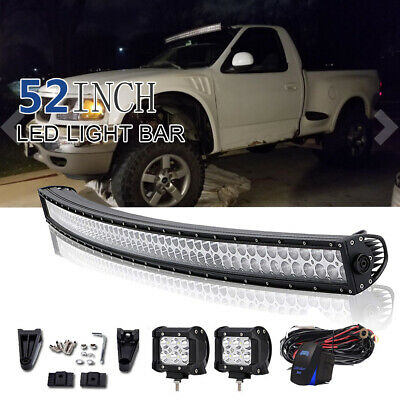 52inch LED Light Bar 700W Curved Combo+2x 4'' Pods SUV 4X4 Truck Offroad+Harness