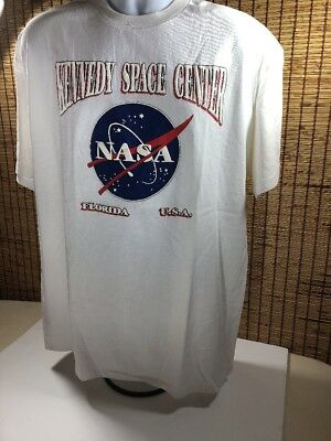 NASA Kennedy Space Center Cotton T-Shirt Pullover S/S Size XL White New Vintage