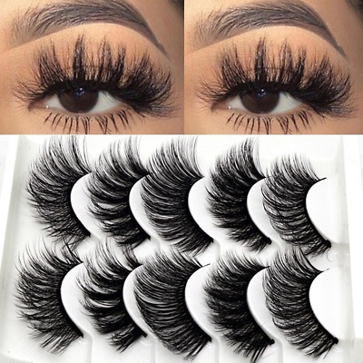 24246390641 5 Pairs 3D Mink Eyelashes Natural False Long Thick Handmade Lashes Makeup  Tool