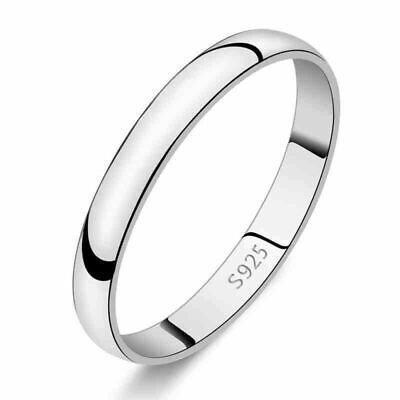 Men's Women's 925 Sterling Silver Solid 2mm Thin Classic Plain Band Wedding Ring