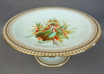 Antique hand painted Royal Worcester footed CAKE / FRUIT STAND TAZZA COMPORT.