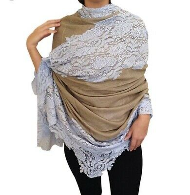 Cashmere Blend and Lace Light Blue Beige Taupe Pashmina Wrap Scarf Shawl RRP £99