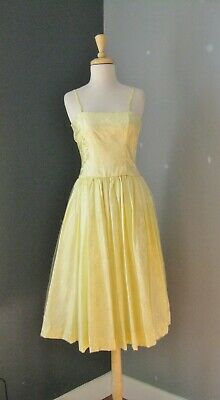 49d102f30ed VINTAGE 1950s Prom Dress Yellow Jacquard   Net Spaghetti Strap Yellow gown
