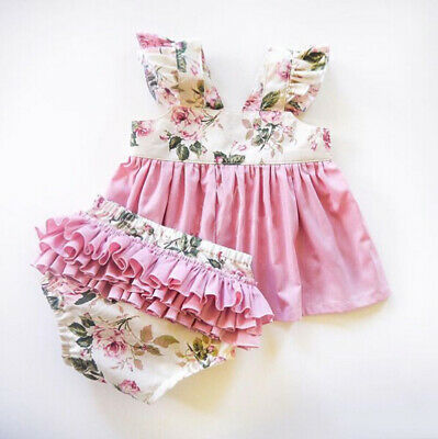 Newborn Baby Girls Ruffle Flowers Top Dress Shorts Pants Briefs Clothes Outfits