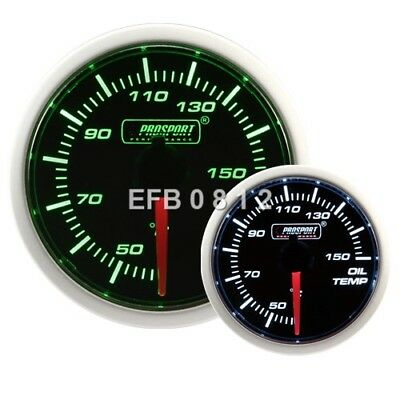52Mm Prosport Stepper Motor Smoked Green / White Oil Temperature Gauge