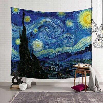 Van Gogh The Starry Night Tapestry Wall Hanging Polyester Mat Home Décor TW