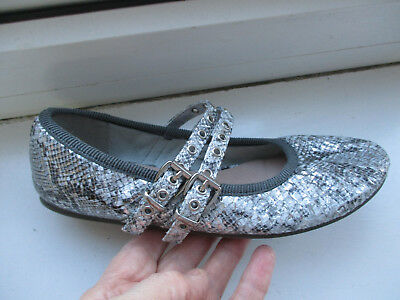 Girls NEXT silver sparkly snakeskin party shoes size 1