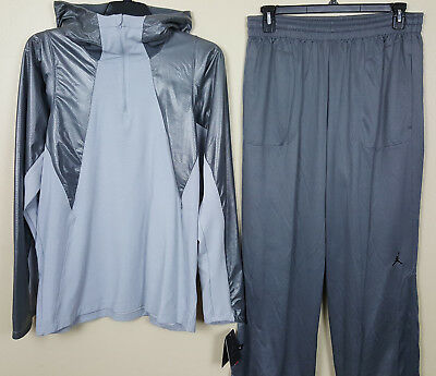 NIKE JORDAN THERMA FIT Training Suit Hoodie+Pants Black Grey