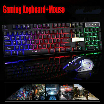 New Computer Wired Gaming PC USB LED Backlit Light Up Illuminated Keyboard+Mouse