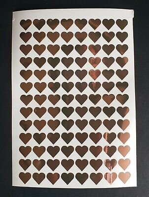 15mm Rose Gold Heart Shape Stickers x 104 Metallic Vinyl Wedding Invite Favours