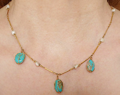Fine Antique Arts & Crafts 9ct Gold Turquoise & Pearl Caged Drop Necklace c1900