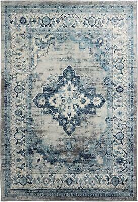 Grey Ivory Oriental Rug Home Decor Geometric Flower Pattern Border Hall Runners
