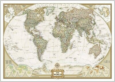 Vintage World Map Large Poster Art Print Giant A0 to A5 Small Sizes