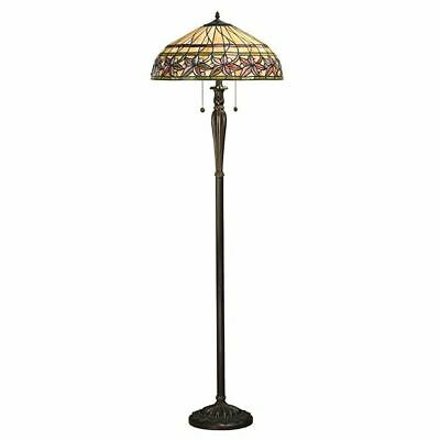 Ahstead Bronze Polyresin Floor Lamp 60W Tiffany Design Glass Shade
