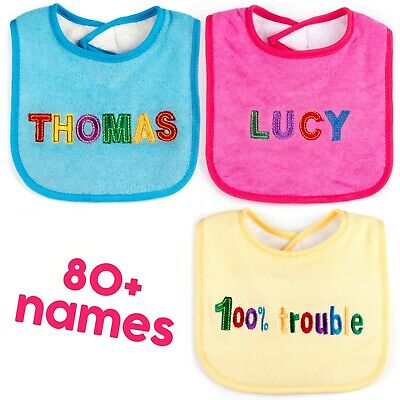 Personalised Embroidered Name Baby Dribble Feeding Bib Boys Girls Pink Blue