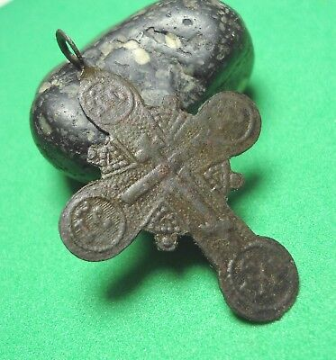 Ancient Bronze Cross Wearable Pendant Antique Rare C76