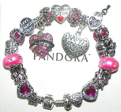 Authentic Pandora Silver Bracelet with WIFE ANNIVERSARY, PINK European Charms