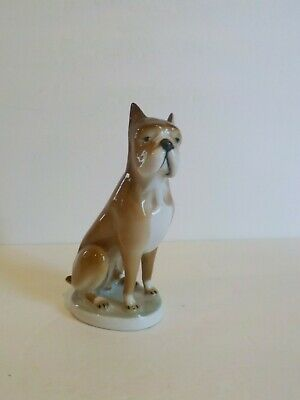 Zsolnay Pecs Porcelain Boxer Dog Figurine  Made in Hungary, c. 1920's