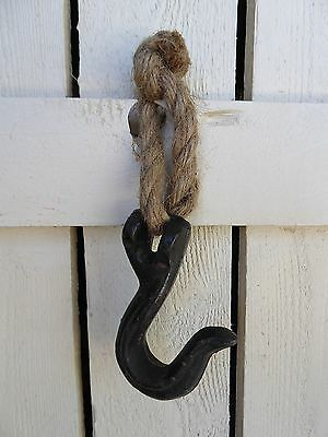 Cast Iron Metal & Rope Wall Grab Hook  Pulley Rustic Industrial Urban Farmhouse