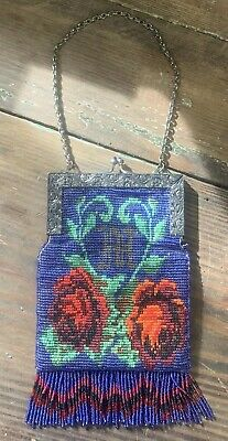 STUNNING Antique Victorian Glass Micro Beaded Knit Blue Purse w Red Rose Flowers