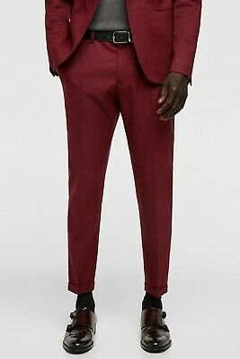 34a9e3c0 NWT ZARA MAN Burgundy textured weave Cropped suit pants belt loops size 36  x 26