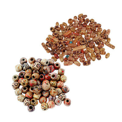 200Pcs Mixed Large Wood Beads Spacer Ball Beads DIY Jewelry Findings Charms