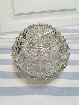 Vintage Clear Geometric Diamond Cut Pattern Glass Lamp Globe Round Shade Light