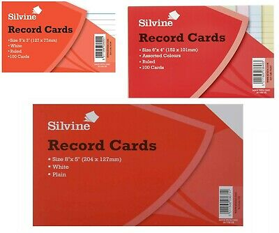 Silvine Record Cards Revision/Flash White/Ruled or Coloured for school/office