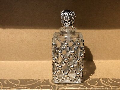 Antique Vintage Ornate Silver (sterling/plated) Perfume Bottle With Jewelled Cap