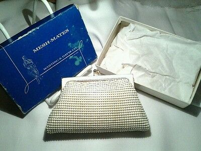 Vintage Whiting and Davis Gold Cream Mesh Mate Coin Purse Mini Bag New in Box
