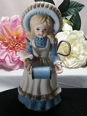 Vintage Price Products Sewing Porcelain Girl Pins Scissors Thread Figurine