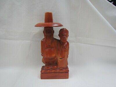 "Chinese Wood Carving Statue Figure Farmer & Wife I call it ""Chinese Gothic"""