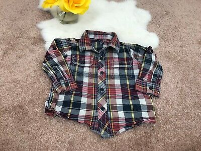 Baby Gap Baby Boy Casual Shirt Button Front Pockets Plaids Roll Sleeve Sz 12-18M
