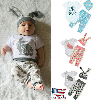 a28510a10 Newborn Baby Girl Boy Cartoon First Easter 3D Bunny Outfits Romper Pant  +Hat Set