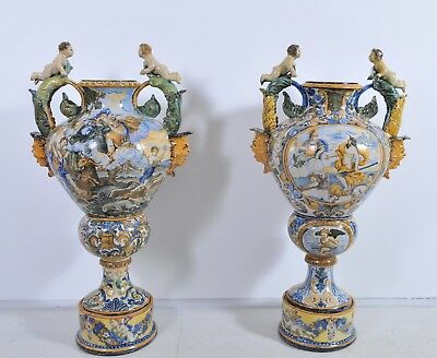 Pair of amazing antique Italian Maiolica floor vase, 19th century