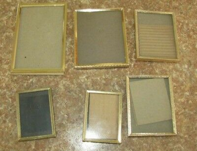 Vintage Lot 6  Ornate Gold Metal Picture Frames Beaded Photo Decor Easel