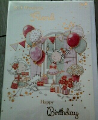 Happy Birthday Card*to A Wonderful Friend*balloons Design*female*greeting*
