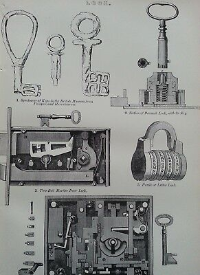 Antique Print C1870'S Lock Engraving Keys From Pompeii Changeable Bank Lock