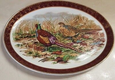 Weatherby Hanley England Royal Falcon Ware Pheasants Oval Porcelain Plate FS