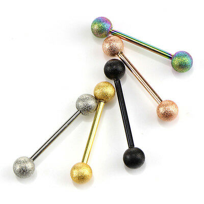 5Pcs 14G Surgical Steel Mixed Barbell Bar Tounge Rings Piercing Body Jewelry VGC