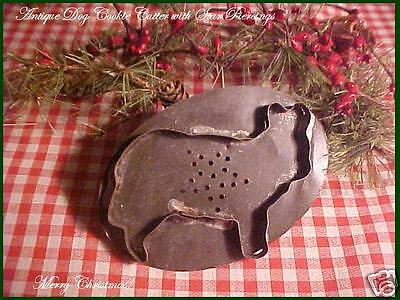 Antique TIN Vtg Xmas flatback Large DOG with Pierced STAR Cookie Cutter AAFA